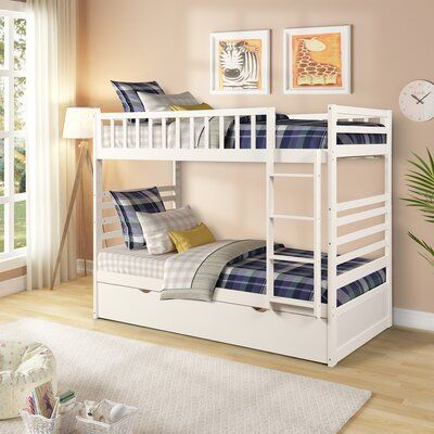 Latitude Run Raimunda Twin Over Twin Bunk Bed With Trundle Bed Frame Colour White Bed Bunkbed Col Solid Wood Bunk Beds Wood Bunk Beds Bunk Beds With Drawers