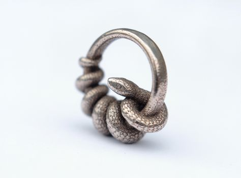 A ring … but occupied by a snake!  To avoid getting bitten, use it as pendant instead. Stainless steel pendant, manufactured via Shapways 3D printing service.