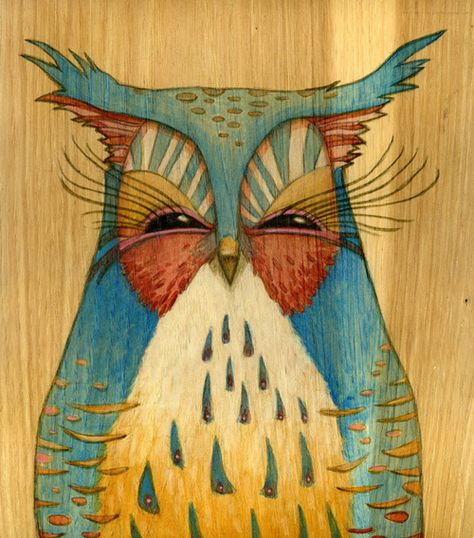 owl painting by Brett Superstar. cute for an owl tattoo?