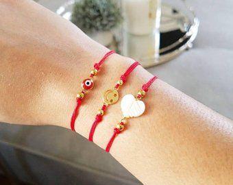 Mom /& Baby Oro Corazón Rojo Cable Lucky Pulseras protección mal de ojo hecho a mano