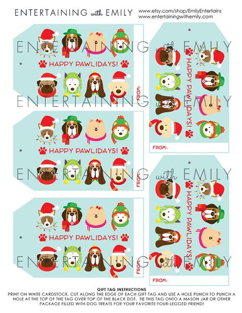 Dog Holiday Gift Tags INSTANT DOWNLOAD PDF by EmilyEntertains