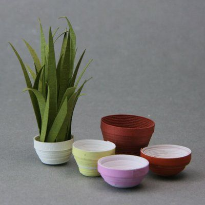 Make doll house plant pots from paper strips