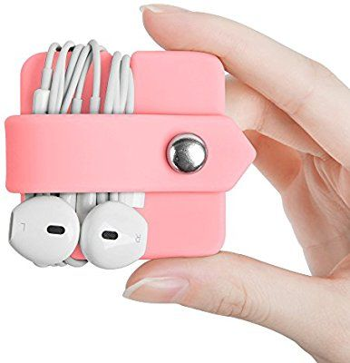 Earphone Headphone Cable Winder Organizer Cord Wrap Pink