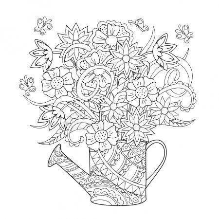 Regadera Con Flores Vector De Stock Dibujos Para Colorear Adultos Paginas Para Colorear De Flores Dibujos Zentangle Art