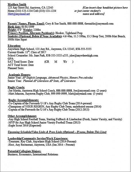 Sample Rug Recruit Athlete Resume The Ruggers Edge Student Athlete Cover Letter For Resume Resume Template