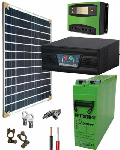 Kit Solar Gel 12v 1000whdia Con Imagenes Paneles Solares Calefaccion Solar Sistema De Energia Solar