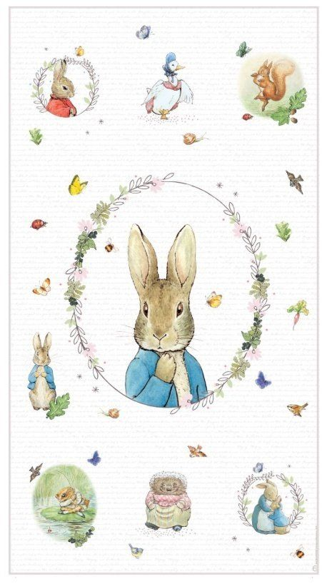 Easter Peter Rabbit Fabric Cushion Craft Quilting Panel With Easter Eggs