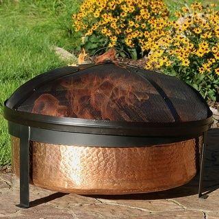 Sunnydaze 100 Hammered Copper Wood Burning Fire Pit Bowl And Screen 30 Inch Wood Burning Fire Pit Fire Pit Screen Wood Burning Fires