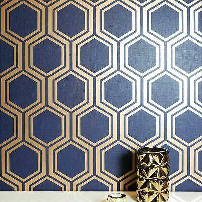 Geometric Hexagon Wallpaper Navy Blue Gold Metallic Textured Wall Coverings 3d Blue Geometric Wallpaper Geometric Hexagon Wallpaper Hexagon Wallpaper