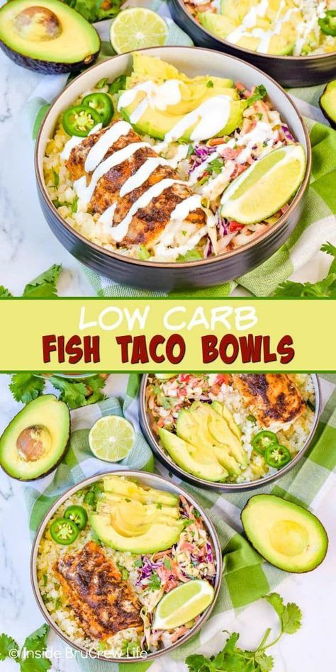Low Carb Fish Taco Bowls - coleslaw, cauliflower rice and baked fish make . Low Carb Fish Taco Bowls - coleslaw, cauliflower rice and baked fish make . - 600 x 1200 Low Carb Fish Taco Bowls Healthy Dinner Recipes, Mexican Food Recipes, Cooking Recipes, Keto Recipes, Lunch Recipes, Healthy Easy Fish Recipes, Smoothie Recipes, Cooking Hacks, Healthy Meals For Two