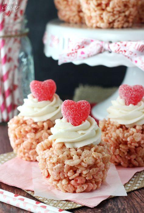 Valentines Day Rice Krispie Treat Cupcakes #Valentines #baking #heart
