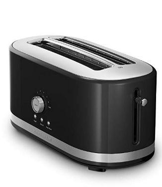 Kitchenaid Kmt4116ob 4 Slice Long Slot Toaster With High Lift Lever Onyx Black Long Slot Toaster Kitchen Aid Toaster