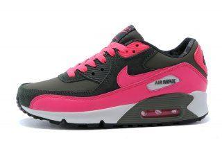 Nike Air Max 90 2007 GS Iron Green Hyper Pink White 345017 300 Womens Running Shoes 345017 300