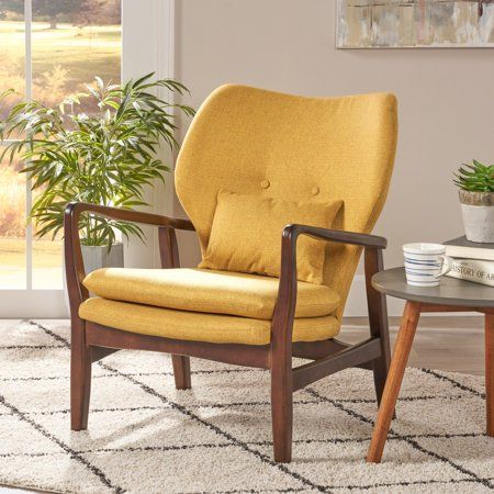 Noble House Mid Century Modern Fabric Club Chair Mustard Walmart Com Modern Club Chair Mid Century Modern Fabric Club Chairs