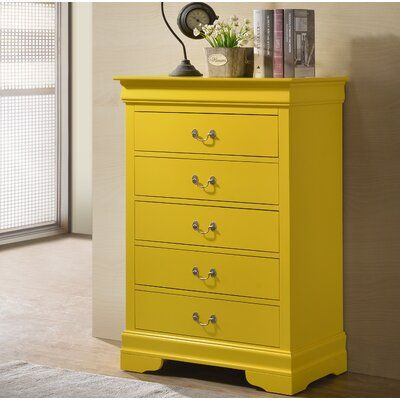 Lark Manor Babcock 5 Drawer Chest Color Yellow 5 Drawer Chest Yellow Dresser Chest Of Drawers