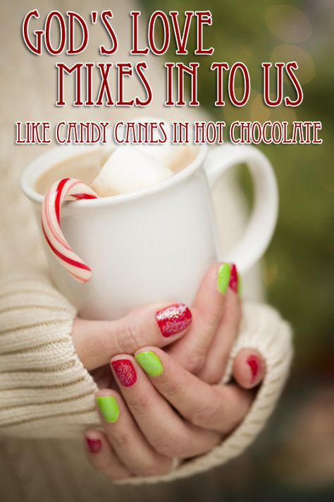 """In this Christmas/Winter lesson, candy canes in hot chocolate can help kids understand God's love """"mixes in"""" with us and makes us """"sweeter"""" people."""