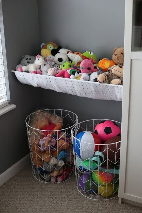 20 Brilliant Stuffed Animal Storage Solutions - Behind the Mom Bun - Kids play. 20 Brilliant Stuffed Animal Storage Solutions – Behind the Mom Bun – Kids playroom – Stuffed Animal Storage, Diy Stuffed Animals, Stuffed Animal Organization, Stuffed Animal Hammock, Stuffed Animal Zoo, Soft Toy Storage, Toy Storage Solutions, Storage For Toys, Living Room Storage Ideas For Toys