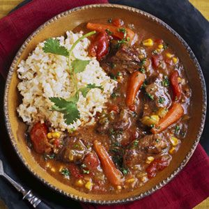 Tex-Mex Beef Stew.  Ancho chili powder provides the Southwest heat in this hearty stew.