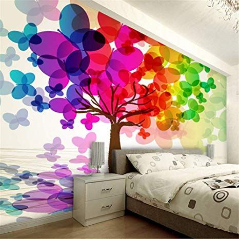 Lzxydbz 3D Tapete Cartoon bunten Baum Kinder Wandbild Relief ...