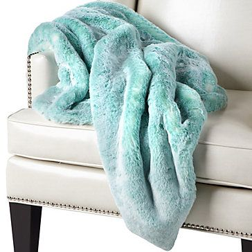 Colorfully luxurious. Faux Chinchilla Throw in Aquamarine, $149.95 #ZGallerie
