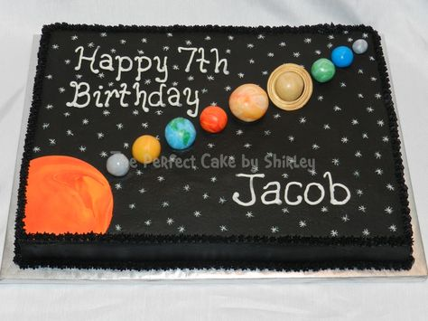 Solar system cake. Buttercream airbrushed black, fondant planets and sun. The planets were marbled fondant, with some details painted on. Based on cake by IMAKECAKES.