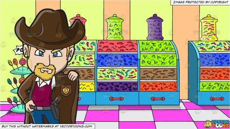 An American Old West Sheriff and Inside A Candy Store Background