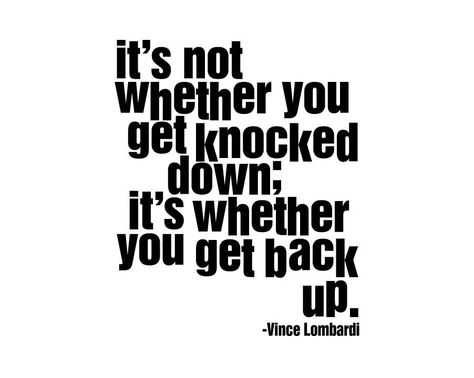 """Vince Lombardi quote """"It's not whether you get knocked down it's whether you get back up"""" Inspirational Quote Wall Decal Football Packers. $18.98, via Etsy."""