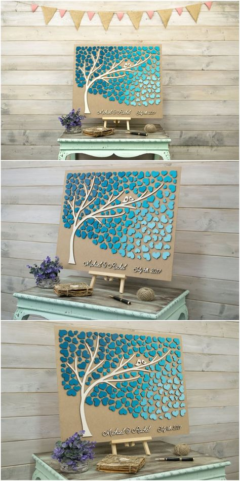 Custom colors Wedding guest book alternative 3D tree wood hearts Rustic wedding guest book Unique guestbook wooden Tree of life Wedding gift