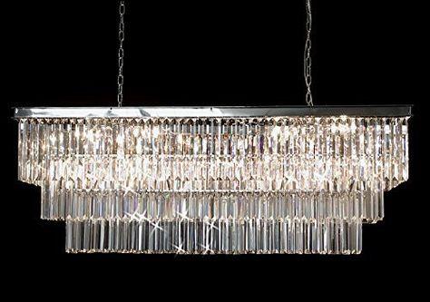 Retro Odeon Glass Fringe Rectangular Chandelier Lighting Chrome Finish - G7-2164/12
