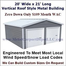 20 X 21 Vertical Roof Style Metal Building Price 5 180 00 In