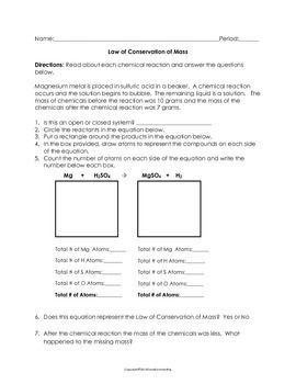 Law Of Conservation Of Mass Worksheet With Images Conservation