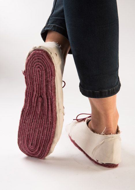 If these canvas shoes get dirty or torn, the wearer can cut off layers to reveal clean sections underneath.
