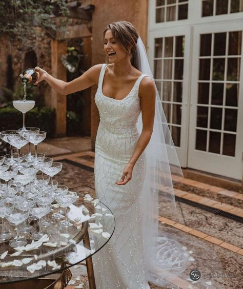 Lace or glittery fabric works well with your wedding dress of choice and photographs well from all angles. #wedding#stylishwedd#stylishweddinvitations#weddingideas#weddingdresses