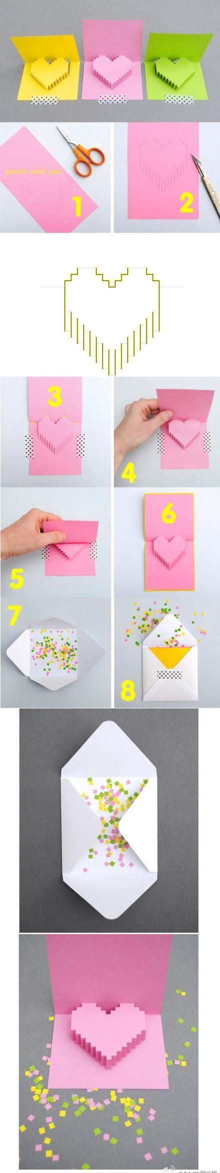Поздравлением, как сделать объемное сердце из бумаги на открытку