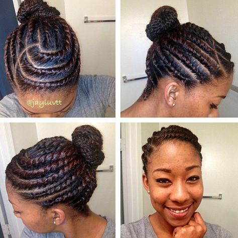 Protective style flat twists and bun