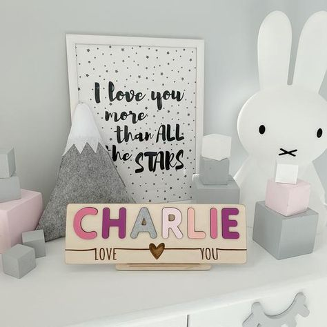 Wooden Name Puzzle, Personalized Birthday Gift, Baby Birthday Decor,Baby Shower Girl Gift, Nursery D