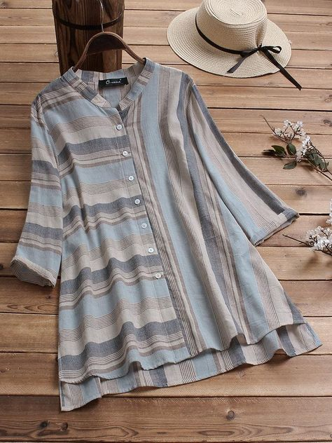 Color: Blue,Brown,YellowSize: L,2XL,3XL,4XL,5XLSleeve Length: 3/4 SleeveNeckline: Stand CollarPattern: StripedMaterial: CottonSeason: Spring,Summer,AutumnOccasion: Daily Casual,Holiday,BasicClosure Type: Button Fly Size Sleeve Bust Shoulder Cuff Hem Front Rise Back Rise inch cm inch cm inch cm inch cm inch cm inch cm