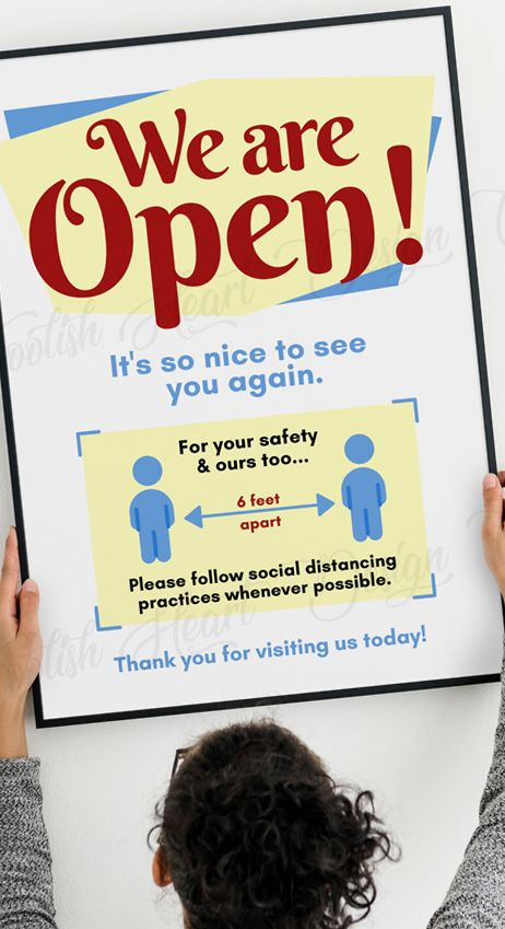 We Are Open Printable Sign Follow Social Distancing Practices 6 Ft Apart Business Sign Keep Your Distance Poster We Re Open Pdf Jpg Social Distancing Signs For Stores Business Signs