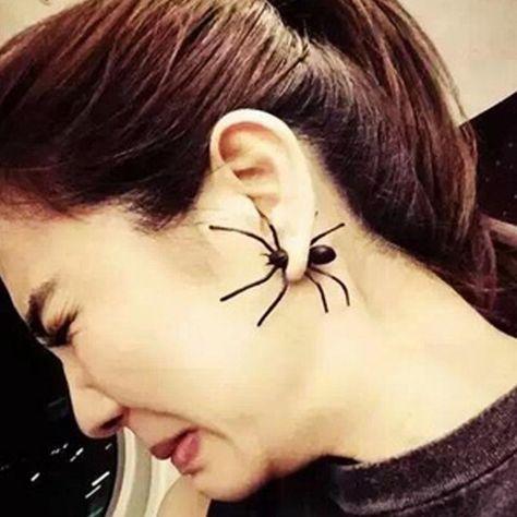 1 pc punk rock fashionable men women black spider earrings two parts ear stud earrings