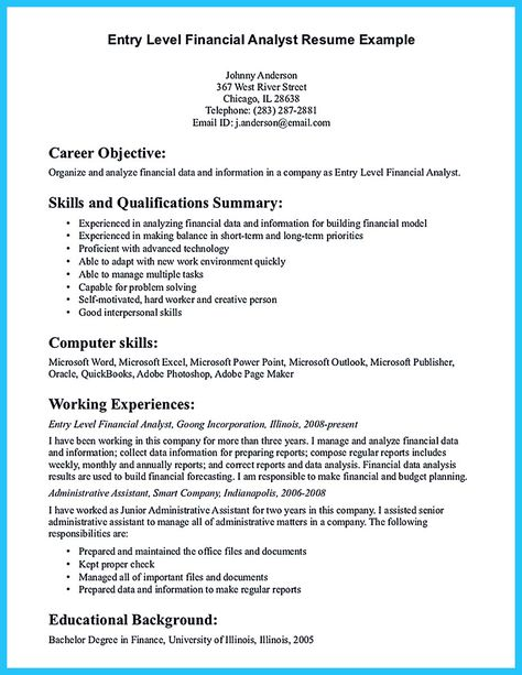 Finance Resume Objective Entry Level Financial Analyst Resume