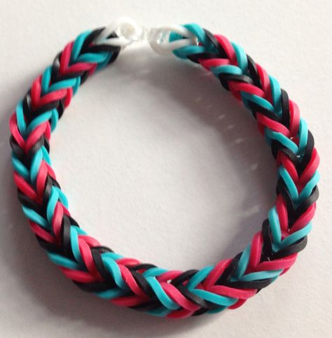 Items similar to Red, Blue and Black Fishtail Rubber Band Bracelet on Etsy