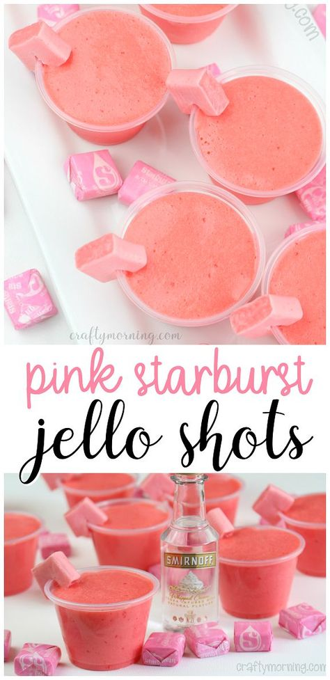 Pink starburst jello shots recipefun summer jello shots recipe Watermelon pucker vodka cool whip etc Fun pink candy taste Perfect for bbq parties Cocktails Vodka, Beste Cocktails, Liquor Drinks, Cocktail Drinks, Bourbon Drinks, Drinks With Candy, Candy Alcohol Drinks, Liquor Candy, Bbq Drinks