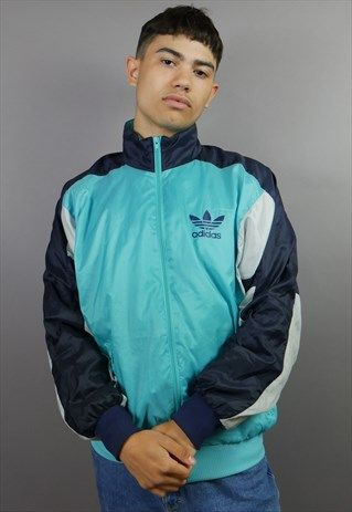 TURQUOISE, BLACK & WHITE ADIDAS ORIGINALS SHELL SUIT JACKET