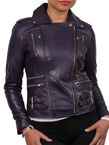 New Womens Black Leather Motorcycle Biker Jacket Soft Lambskin LFWN320