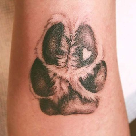 This animal memorial tattoo is a detailed, realistic .- This animal memorial tattoo is a detailed, realistic drawing of a dog paw print … -