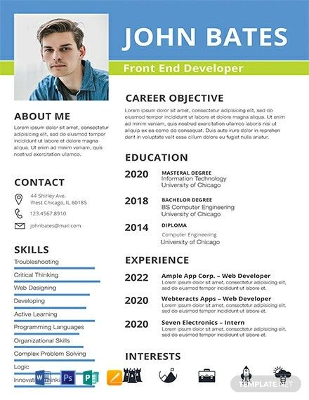 Front End Developer Resume Template Free Psd Word Apple Pages Publisher Template Net Web Developer Resume Resume Template Resume Template Free