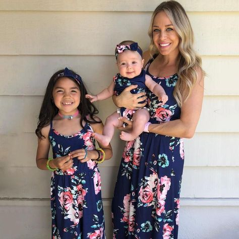 Mommy and Me Floral Dark Blue casual Tank Matching Dresses 8-9 Years