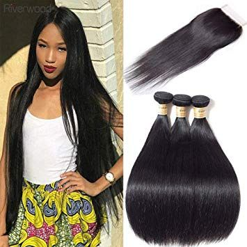 Malaysian Straight Hair 3 Bundles With Free Part Lace Closure 18 20 22 16 Closure Free Pa Malaysian Straight Hair Straight Ponytail Straight Human Hair Bundles