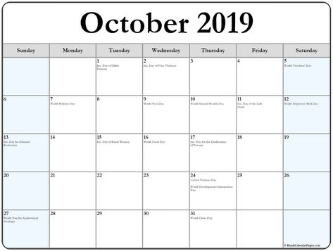 Collection Of October 2019 Calendars With Un Holidays Holiday