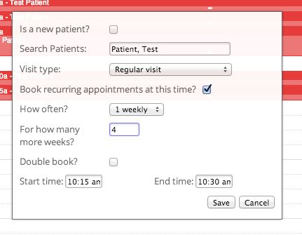 Automatic Recurring Appointment Booking - iconpractice